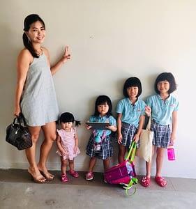 Jessy Ng and daughters